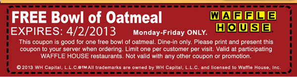 FREE bowl of Oatmeal at Waffle...